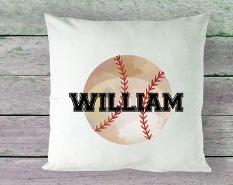 Boys Pillowcase, Sports Pillowcase, Baseball Pillow, Baseball Pillowcase, Watercolor Baseball, RyElle, Boys Personalized Pillowcase, Sports