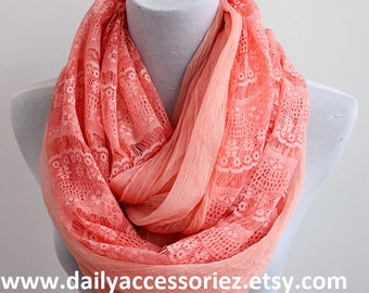 Coral Pink Lace Scarf, Lace Infinity Scarf, Gift For Her, For Women, Scarf Gift, Scarf Women, Gift for Women, Christmas Gift, For Her