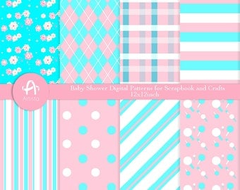 Baby Shower Digital Paper Goods Pink and Blue-ピンク-ブルー