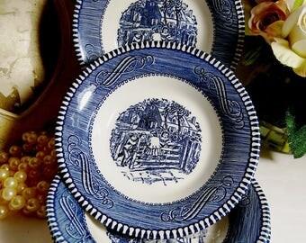 Vintage Currier and Ives // Old Farm Gate // Blue and White Fruit/ Dessert Bowls // Set of 4 ea.