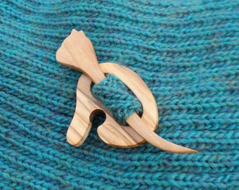 Animal  Shawl Pin - Olive wood -Accessory for knit and crochet scarves - wood shawl pin