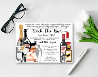 Stock the Bar Couples Shower Invitation, Bridal Shower Invite, Wedding Shower Invitation, Couples Shower, Watercolor, DIY or Printed Invite