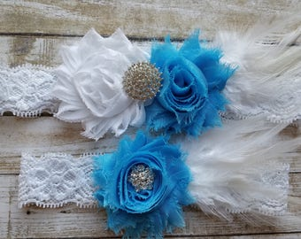 Bridal Garter, Wedding Garter and Toss Garter - Something Blue with Rhinestone & Feather on a White Lace - Style G20329