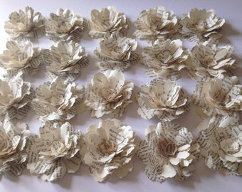 20 Book Page Big Flowers, Made to Order, Wedding, Bridal Shower, Party,wedding centerpiece,