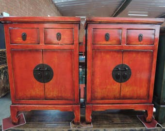 FREE SHIPPING WITHIN U.S. Pair Of Antique Chinese Nightstands In Lacquered  Red (Los Angeles