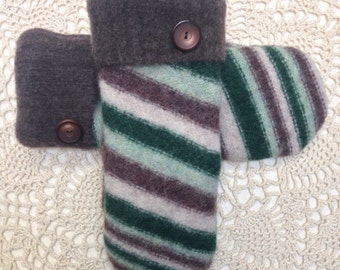 Upcycled-recycled warm shades of green and brown striped felted wool mittens made from sweaters