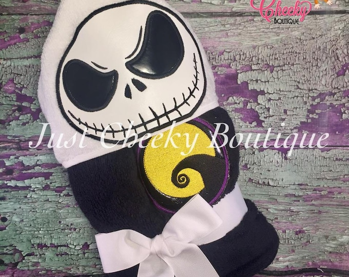 Skeleton King Inspired Hooded Towel - Jack Skellington- Sally - Disney Vacation - Disney Birthday - Nightmare Before Christmas