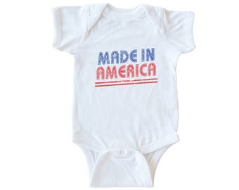 Made In America Onsie, Baby Boy Gift, Baby Shower, Graphic Boy Onesie, 4th of July, Made In America One Piece by Feather 4 Arrow
