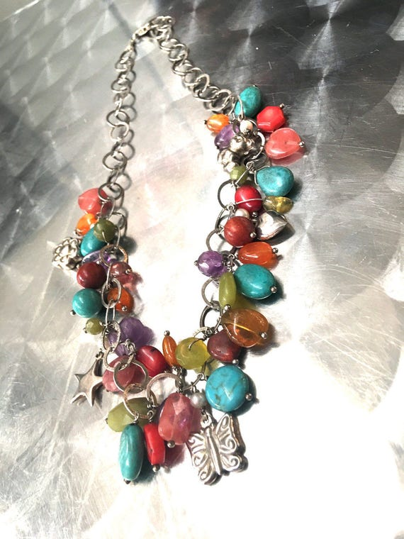Colorful polished stones gems crystals & charms on a 925 1805AR Italian Vintage Charm Necklace