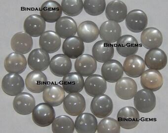 25 Pieces Wonderful Lot Gray Moonstone Round Shape Gemstone Cabochon