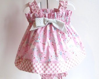 Baby 0-3mo Summer Dress, Baby Dress, Pink Floral Sundress, Baby Girl Clothes, Baby Girl Clothing.