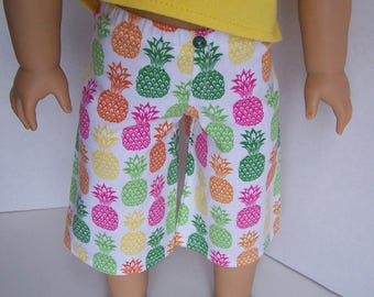 Multicolor Pineapple Board Shorts - fits 18 inch Boy and Girl Dolls