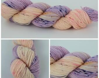 SW Merino Sock - Hand Dyed Yarn {Macaroon Me} is sock yarn, knitting yarn, speckled yarn, purple yarn, peach pink yarn speckled blue, pink