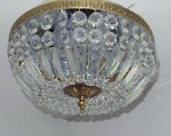 Flush Mount Crystal Basket Chandelier in Excellent Condition!