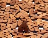 heart wood buttons, scrapbooking embellishments, card craft supplies, love heart card, natural buttons, buttons wood, light wood, doo dads