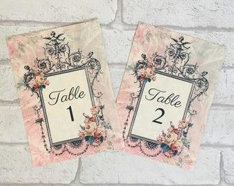Pink Wedding Table Number Cards, vintage style wedding, names, card, frame, antique