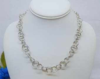 Schofer Germany Sterling Silver Circle Link Necklace 17 1/2""