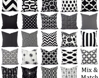 Black and White Pillow Covers - Black Pillows - White Pillows - Pillow Sham - Pillow Case - Accent Pillow - Toss Pillow - Throw Pillows