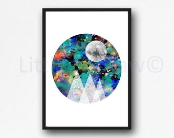 Galaxy Mountains Under The Moon Print Mountain Range Geometric Abstract Circle Print Watercolor Painting Art Print Wall Art Unframed