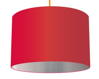 Red Linen Fabric Drum Lampshade With Metallic Silver Effect Lining, Small Lampshade 20cm - Large Lampshade 40cm or Custom Order