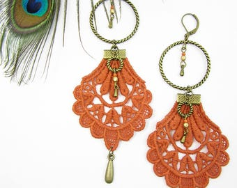 "Earrings ""Gipsy"" brass, orange lace and cristal beads"