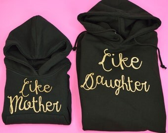 Like mother like daughter hoodies, handmade, matchy, pairs, identical, mother daughter set, mom, mum, printed, glitter, sparkle, hooded tops