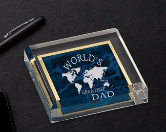 Personalized Acrylic Paper Weight with Blue Marble Finish, Corporate Office Gifts, Promotion Gifts