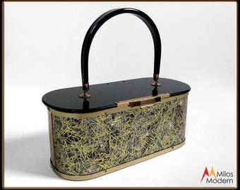 Beautiful Vintage 50s Black Gold Pearl Confetti Lucite Majestic Handbag Purse