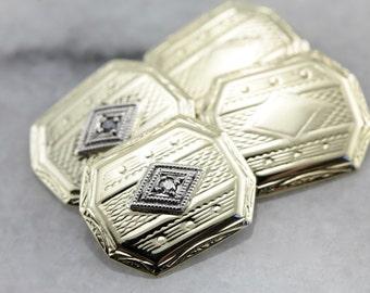 Dapper Diamond Etched 1930's Cufflinks CN386C-D