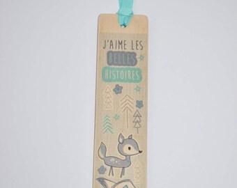 Bookmark wooden - turquoise deer