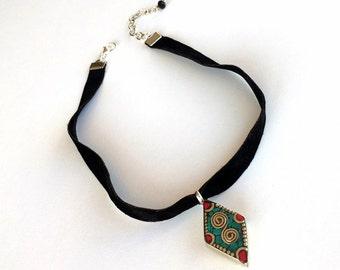Black Choker Necklace, Black Velvet Choker, Boho Statement Necklace, Ethnic Nepal Jewelry, Tribal Turquoise & Coral Pendant, Birthday Gift
