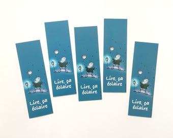 Batch of bookmarks read it illuminates, mark illustrated page, collection of bookmarks, reading accessory