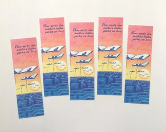 Batch of bookmarks out of the box, brand illustrated page, collection of bookmarks, reading accessory