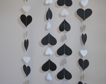 Hand made Thick Card Stock Paper Party Wedding Christmas Decoration Streamer Black and White Hearts