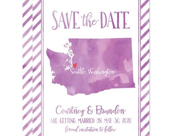 Washington State Save The Dates - Watercolor State Shape - Printed Cards