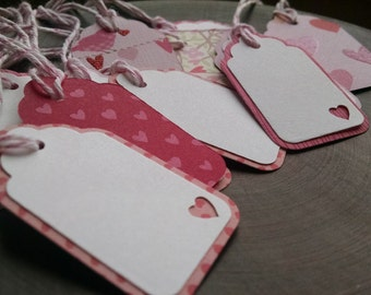 My Funny Little Valentine, scalloped gift tags, double sided tags, layered tags, set of 16