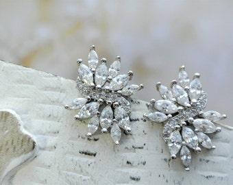 Crystal  Earrings, Bridal Earrings, Crystal Bridal Earrings, Zircon Crystal Bridal Jewelry, Crystal  Earrings, Wedding Jewelry