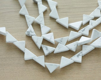 10 pcs of White Howlite Triangle Bead