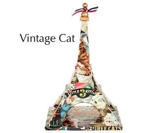 "Eiffel Tower - ""Vintage Cat"" - Decoupage on wood - Mixed media art piece"