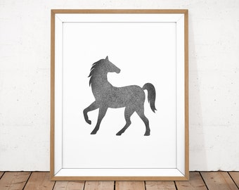 Black and White Horse Print, Horse Digital Print, Black Horse Poster, Animal Wall Decor, Black White Animal Print, Horse Instant Download