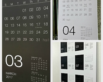 Minimalist Black and White 2017 Wall Calendar - functional & modern for organizing all year around!