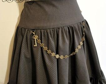 Short Skirt Steampunk grey/blue