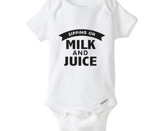 Sipping on Milk & Juice Baby Onesie