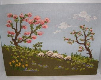 Vintage Crewel Embroidery Sheep Grazing Pastoral Scene