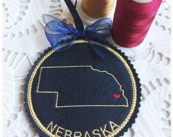 I Heart Nebraska Coaster and Ornament Machine Embroidery Design Instant Download I Love Nebraska with Positionable Heart
