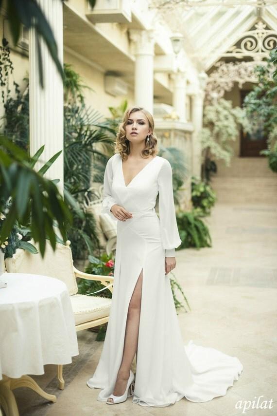 Ivory Crepe Open Back Wedding Dress And Handmade Embellishments Long Sleeve With Train L18 Beach Bridal