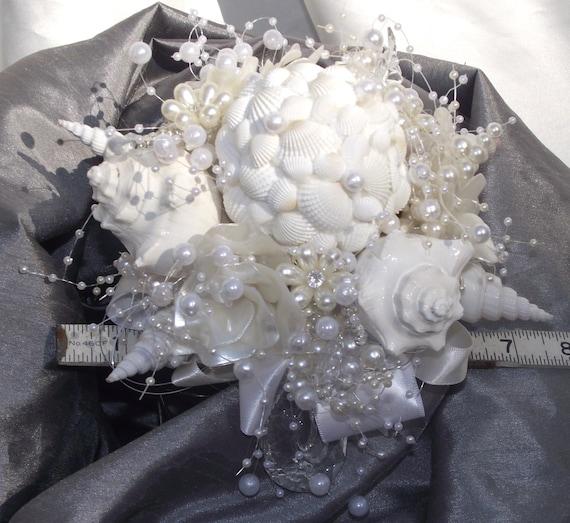 Sea Shell Bride Bouquet White And Ivory Pearl Beach Wedding Nautical Coastal Bridal Starfish