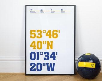 Leeds United Football Stadium Coordinates Posters