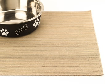 Dog Food Mat, Choose Your Size, Cat Food Mat, Dog Placemat, Pet Food Mat, Non Slip, Waterproof, Splat Mat, Litter Mat, Desert Beige Lines