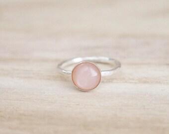 Blush moonstone shimmer stacking ring, sterling silver ring, silver ring, blush moonstone, moonstone ring, moonstone jewelry, silver ring